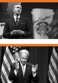 Photos of Howard Schultz and Joe Biden